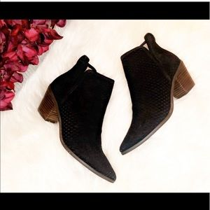 "LUCKY BRAND ""Loria"" Perforated Suede Ankle Booties"